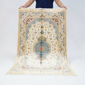 3x5ft Medallion Handmade Silk Carpets Blue Living Room Hand Knotted Rugs 503A