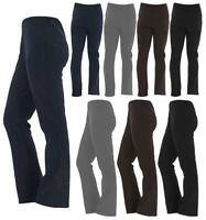 Womens Bootleg Trousers Ladies Bootcut Stretchy Pull On Work Bottom Pant