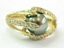 18Kt Black Pearl & Diamond Yellow Gold Anniversary Jewelry Ring 8.5mm 1.00Ct