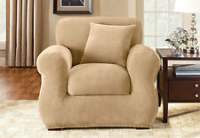 Sure Fit Stretch Pique Chair Slipcover in Cream 2 pieces Box Cushion
