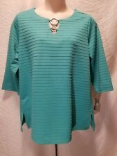 New JM COLLECTION Women's Plus Size 1X Green 3/4 Sleeve Keyhole Blouse Top