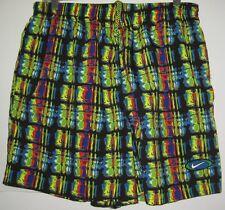 EPIC Vintage NWOT Nike Swim Trunks Shorts Black /POCKETS & BOLD BRIGHT COLORS XL