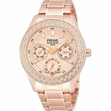 BRAND NEW Pulsar Ladies Rose Gold Swarovski Crystal Chronograph Watch PP6120X1