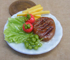 1:12 Scale Large Hand Made Steak & Chips On 3.5cm Ceramic Plate Dolls House Food