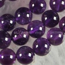 "Purple 8mm Russian Amethyst Gemstone Round Loose Beads 15"""