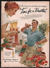 1956 BEER BELONGS Vintage AD Couple in flower Garden...Gardening