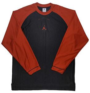 NIKE AIR JORDAN Long Sleeve Performance Shirt 114110 Black Red XL ~ Perfect!