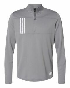 Adidas Mens 3-Stripes Double Knit Quarter-Zip Pullover Shirt A482 up to 4XL