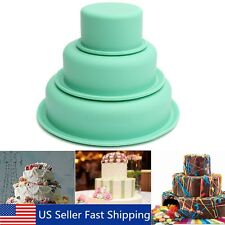 Silicone 3-Layers Big Cake Pan Round Baking Bareware Mold Pastry Tray Mould