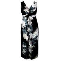 EX.DEBENHAMS BLACK PALM LEAF PRINT SLEEVELESS MAXI DRESS Sizes 8 - 26