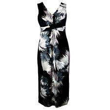 EX. DEBENHAMS BLACK PALM LEAF PRINT SLEEVELESS MAXI DRESS Sizes 8 - 26