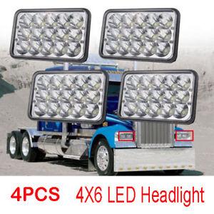 4pcs LED Headlights 4x6 For Kenworth T800 T400 T600 W900B W900L Classic120/132