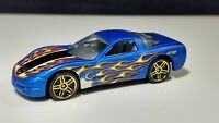 Hot Wheels 1997 Corvette Blue / Side Flames / Clear Windows & HW LOGO  / ADULT