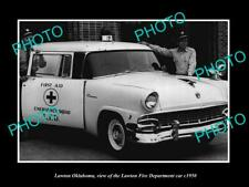 OLD POSTCARD SIZE PHOTO OF LAWTON OKLAHOMA THE FIRE DEPARTMENT CAR c1950