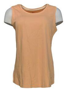 Isaac Mizrahi Live! Women's Top Sz S Essentials Pima Cotton Tank Orange A300900