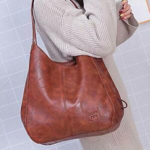 Womens Shoulder Brown Tote Bag PU Leather Travel Handbag Large Ladies Purse