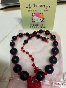 NEW Tarina Tarantino Hello Kitty Pink Head Necklace black and red