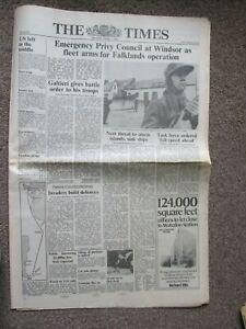 THE SUNDAY TIMES NEWSPAPER, April 5th 1982, FALKLAND WAR, Fleet Arms