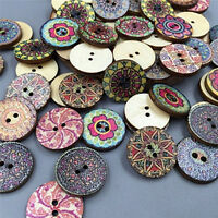 100pcs Mixed Wooden Buttons Vintage Flowers Wood Buttons 20mm Diameter 2 hole MO
