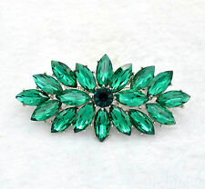 Vintage Style Emerald Green Flower Bouquet Party Prom Wedding Brooch Pin BR332