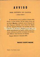 Manifestino - Divieto di caccia nelle terre del Marchese - Ragusa Ibla 1875