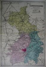 CAMBRIDGESHIRE CAMBRIDGE  ANTIQUE MAP  HAND COLOUR WASH BY GEORGE BACON  c1881