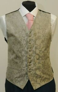 MENS/BOYS OLD GOLD FLORAL WAISTCOAT PARTY/WEDDING/PROM W - 1060