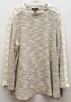 STYLE & CO Size 2X Gray Ivory White Marled Crochet Knit Sleeve Pullover Sweater