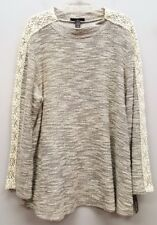 STYLE & CO 3X Gray Cream Ivory Marled Crochet Knit Trim Sleeves Pullover Sweater