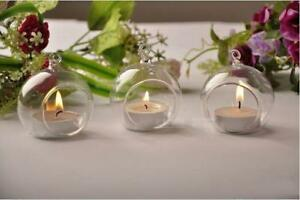 20x 10cm Clear Glass Hanging Ball Bauble Orb Tealight Candle Holder Wedding