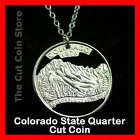 Colorado 25¢ CO Quarter Cut Coin Necklace Rocky Mountains Centennial State