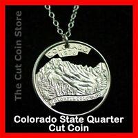 Colorado 25¢ CO Quarter Cut Coin Necklace Rocky Mountains Centennial State