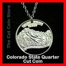 Colorado 25¢ CO Quarter Cut Coin Charm Necklace Rocky Mountains Centennial State