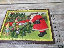 Vintage Santa Claus in Garden Gardening Elves wall plaque hanging Christmas tree