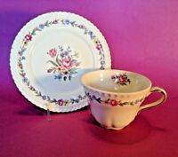 Royal Gadroon Cup And Saucer - Harker Bouquet - Blue Pink & Yellow Floral - USA