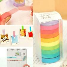 10 Rolls Narrow Rainbow Paper Adhesive Washi Masking Sticky Tape 0.7cm x 5m UK.
