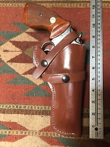 """Fits Smith & Wesson Model 10 14 19 65 66 4"""" Brown Leather Field Holster"""