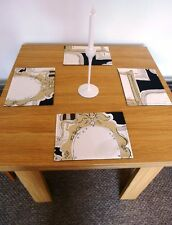 NEW PLACEMATS SET 4  Black Beige White REVERSABLE  - MATCHES OUR TABLE RUNNERS