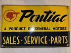 VINTAGE+PONTIAC+PORCELAIN+SIGN+SALES+SERVICE+PARTS+GENERAL+MOTORS+GTO+CHEVROLET+