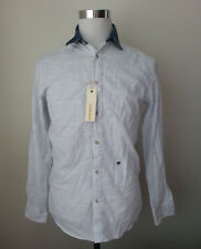DIESEL men's size S slim casual shirt blue with white stripes