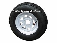 "205/75D14 LRC ET Bias Trailer Tire on 14"" 5 Lug White Spoke Trailer Wheel F78-14"