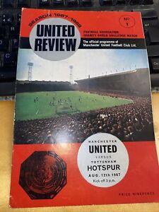 P / 1967 Charity Shield programme. Manchester United v Tottenham Hotspur