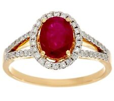 14K YELLOW GOLD 1.00 CTW PRECIOUS RUBY AND DIAMOND RING SIZE 9 QVC $599.00