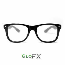 GloFX Heart Effect Diffraction Glasses Black Stainless Steel Hinges Rave Goggles