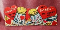 Adorable Anthropomorphic Salt and Pepper Shakers Vintage Valentine Card Unsigned
