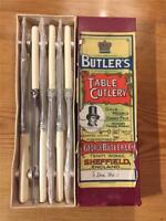 6 x Vintage Butlers Stainless Steel and Faux Bone Pallet Table Knives 23cm Boxed