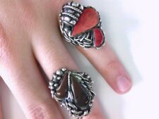 2 - NICE VY Sterling Silver Red Coral & Mahogany Obsidian Rings. BUY NOW!