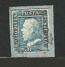 Sicilia 1859 - 2 gr. azzurro - Sassone 6 - Firmato - Frammento - ASI073