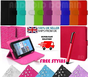 """Book Flip Case Cover Stand For 7"""" Inch ALBA Android Tablet with Free Stylus Pen"""