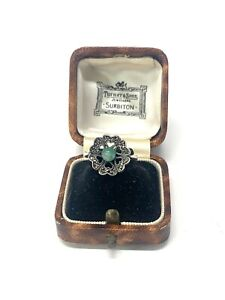 Stunning Antique Art Deco Sterling Silver 925 Green Agate Marcasite Ring 4g #077